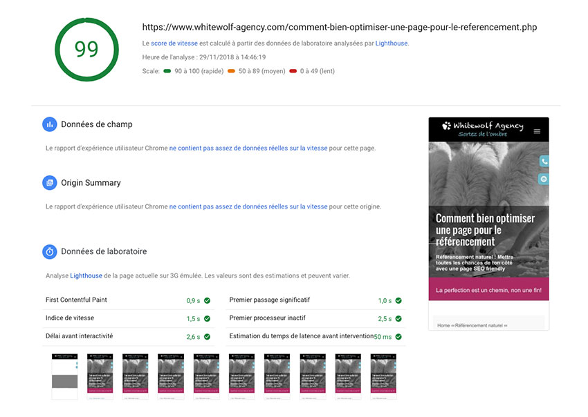 optimiser sa page avec pagespeed insights