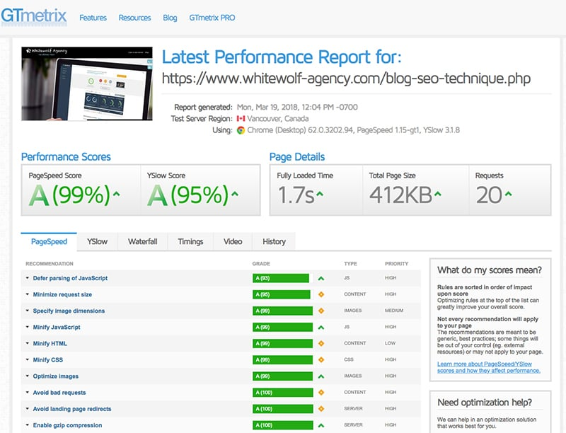 performance web GTmetrix